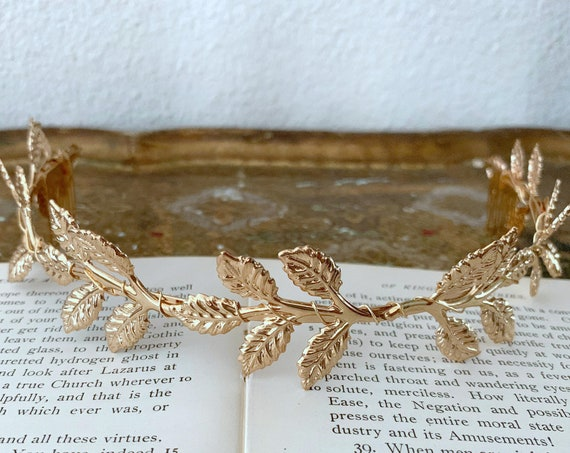 Gold Leaf Tiara Crown