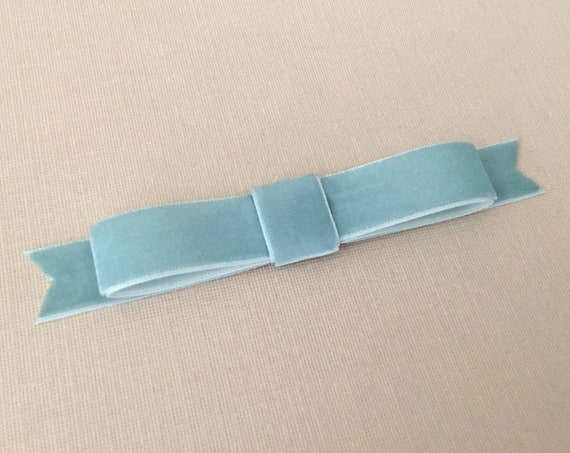 Dusty Aqua Velvet Bow Hair Clip. Designer Inspired.