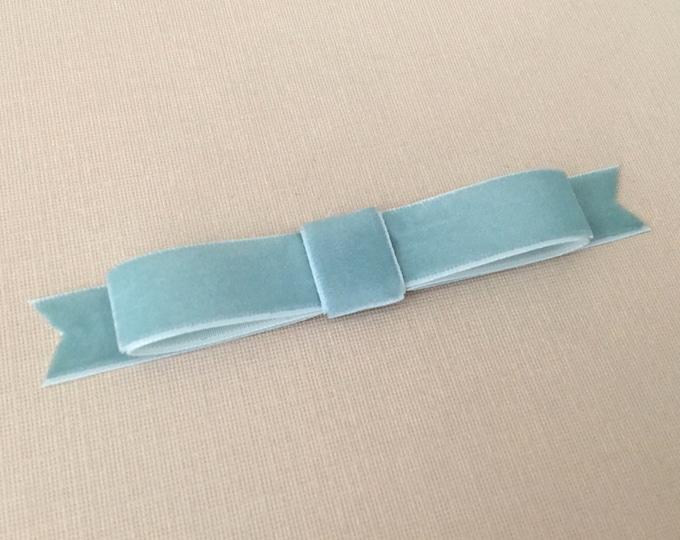 Dusty Aqua Velvet Bow Hair Clip. Designer Inspired.