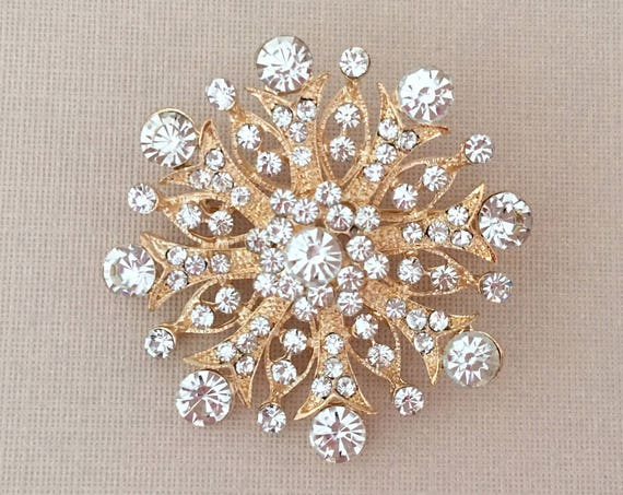 Gold Clear Rhinestone Brooch Pin