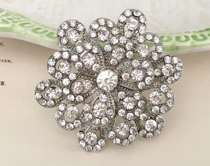 Platinum Rhinestone Flower Brooch Pin and Pendant