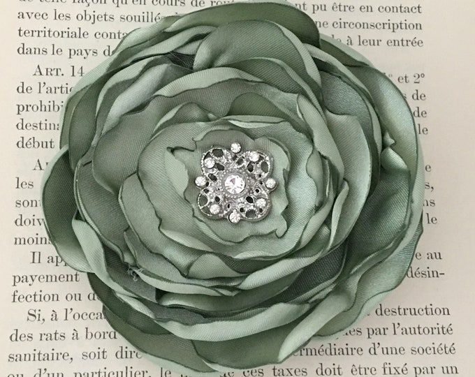 Sage Green Fabric Flower Hair Clip or Brooch Pin. Choose your size and button/bead finish. Handmade.