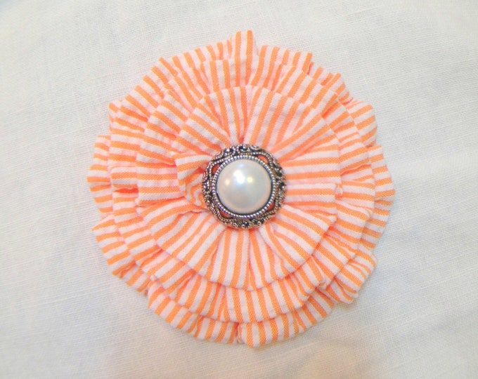Orange & White Seersucker Hair Clip and/or Brooch Pin. Choose your button/bead finish. Handmade.