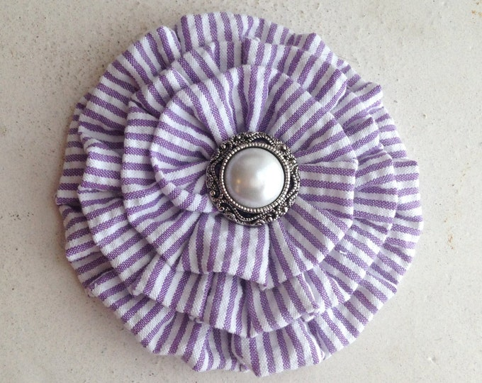 Purple & White Seersucker Flower Hair Clip and/or Brooch Pin. Choose your button/bead finish. Handmade.