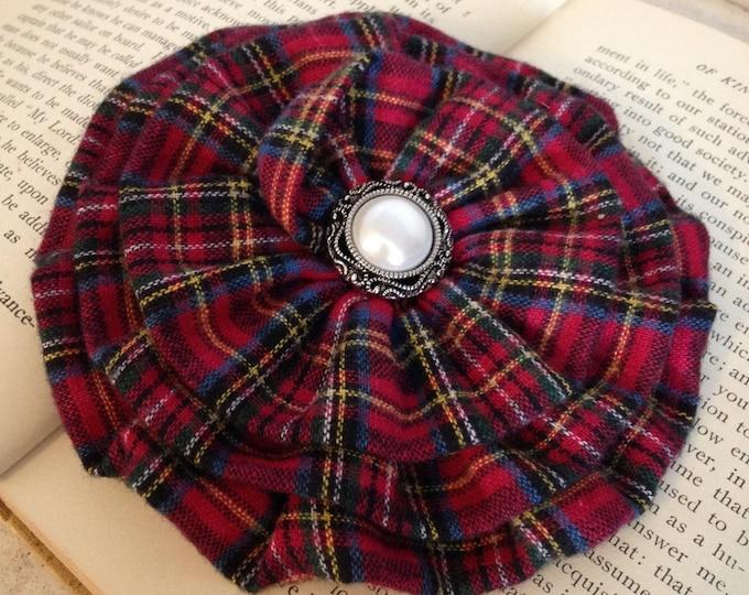 Red & Blue Tartan Plaid Brooch Pin