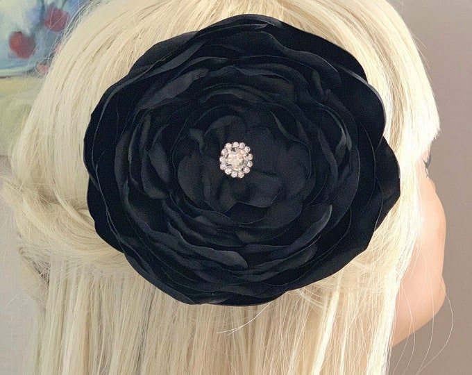 Extra Large Black Flower Hair Clip and/or Brooch/Pin. Choose your button/bead finish. Handmade.
