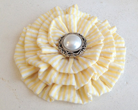 Yellow & White Seersucker Brooch Pin and/or Hair Clip. Choose your button/bead finish. Handmade.