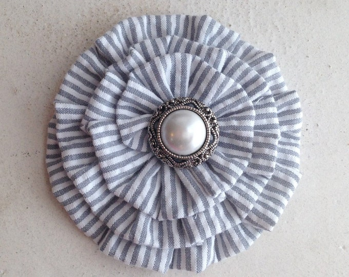 Gray Seersucker Flower Hair Clip and/or Brooch Pin. Choose your button/bead finish. Handmade.