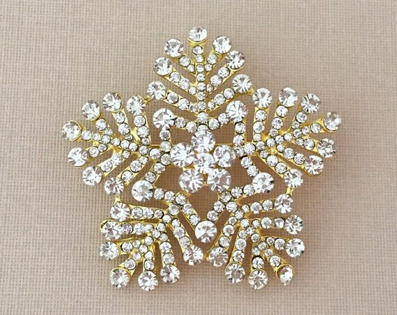 Gold Snowflake Rhinestone Brooch Pin