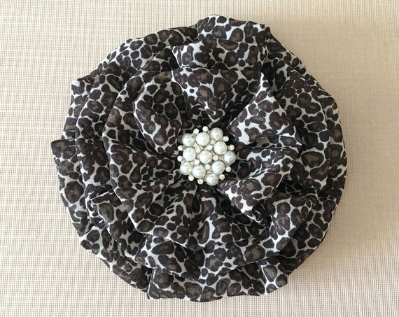 Leopard Fabric Flower Brooch Pin and/or Hair Clip. Choose button/bead finish. Handmade.