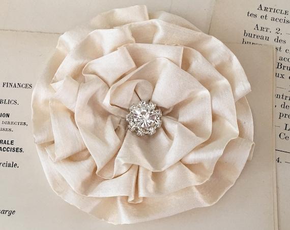 Handmade Cream Silk Flower Brooch Pin and/or Hair Clip.Choose button/bead finish.