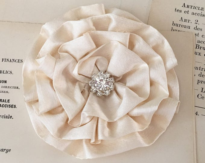 Handmade Cream Silk Flower Brooch Pin and/or Hair Clip. Choose button/bead finish. Handmade.