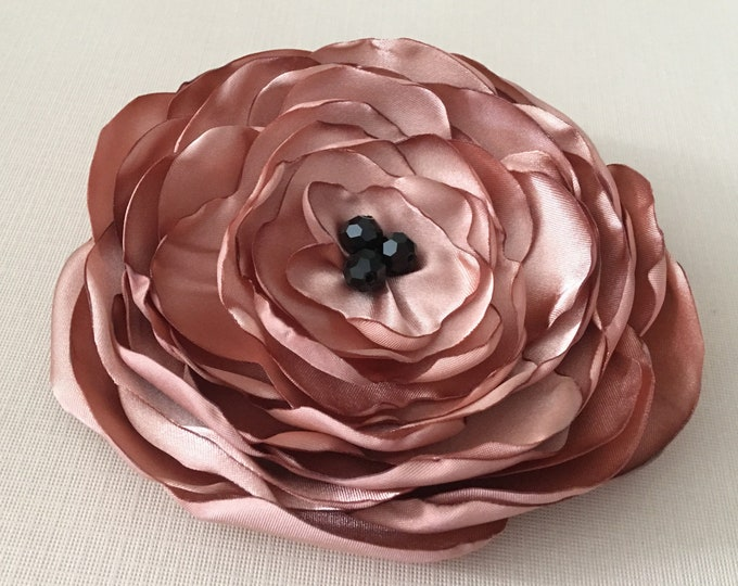 Rose Gold & Black Fabric Flower Hair Clip or Brooch Pin. Choose Size. Handmade.