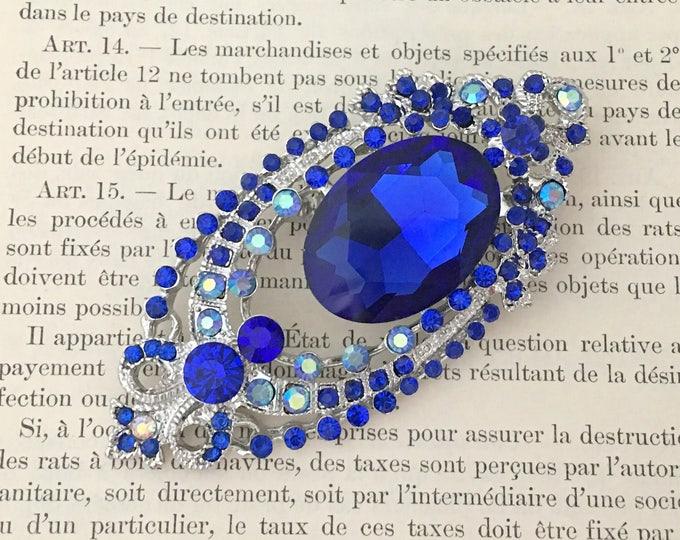 Royal Blue & Platinum Rhinestone Brooch Pin