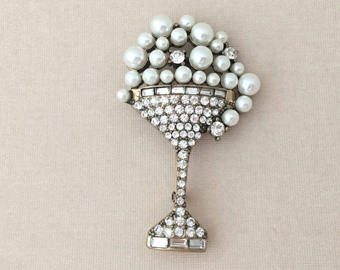 Champagne Glass Flute Brooch Pin