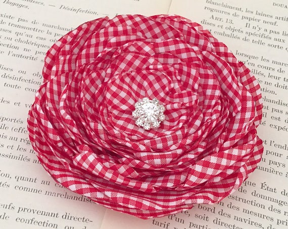 Red & White Gingham Flower Hair Clip and/or Brooch Pin. Choose your size and button/bead finish. Handmade.