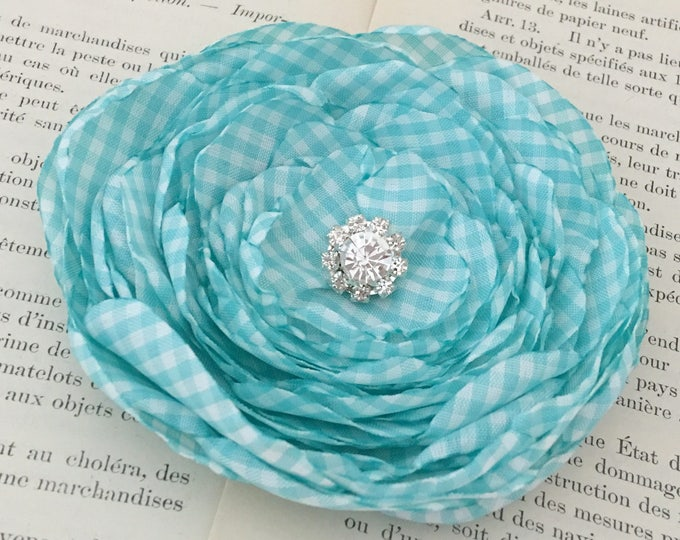 Aqua & White Gingham Flower Hair Clip or Brooch Pin. Choose your size and button/bead finish. Handmade.