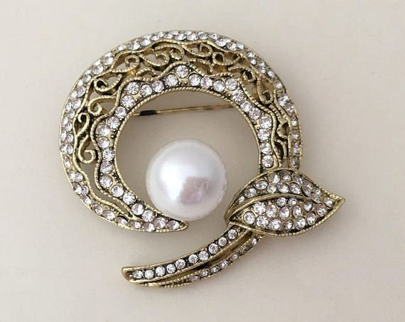 Antique Gold, Rhinestone, Pearl Brooch Pin and Pendant