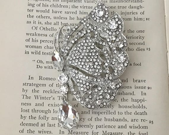 Large Rhinestone Butterfly Brooch Pin and Pendant