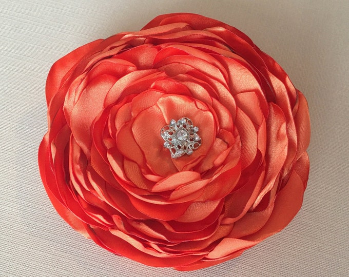 Orange Satin Flower Brooch Pin or Hair Clip.Choose your size and button/bead finish. Handmade.