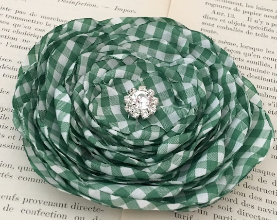 Green White Gingham Brooch Pin or Hair Clip. Choose your size and button/bead finish. Handmade.