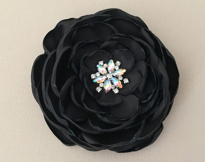 Black & Aurora Borealis Fabric Flower Hair Clip and/or Brooch Pin. Choose size. Handmade.