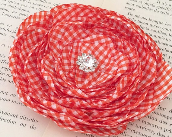 Orange & White Gingham Flower Hair Clip or Brooch Pin. Choose your size and button/bead finish. Handmade.
