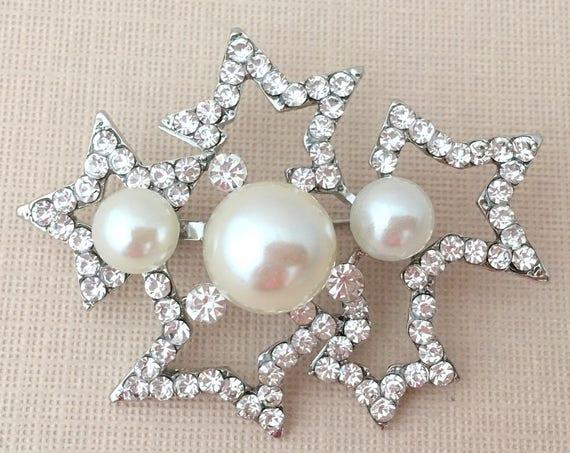 Silver Stars Pearl Brooch Pin