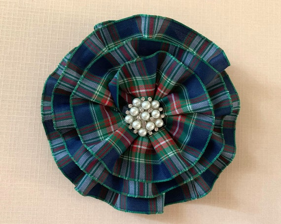 Navy Blue Tartan Plaid Brooch Pin and/or Hair Clip. Choose your button/bead finish.