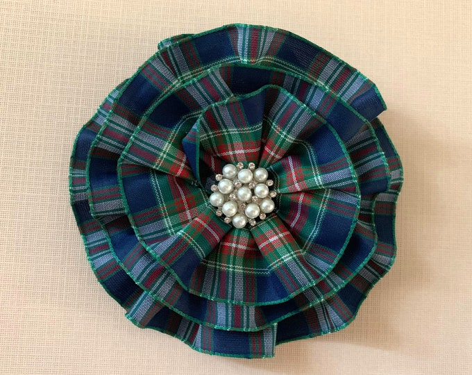 Navy Blue Tartan Plaid Brooch Pin and/or Hair Clip. Choose your button/bead finish. Handmade.