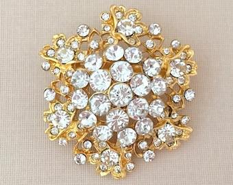 Gold Crystal Flower Brooch.Gold Rhinestone Flower Brooch.Bridal Brooch Pin.Gold Flower Brooch.vintage style.Edwardian Style.white/clear