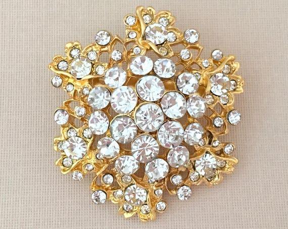 Gold Rhinestone Brooch.Gold Crystal Brooch.Gold Crystal Flower Brooch.Gold Rhinestone Flower Brooch.Gold Rhinestone Flower Pin.Gold Clear