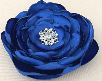 Royal Blue Flower Hair Clip.Royal Blue Flower Brooch.Royal Blue Flower Pin.Headpiece.Bridesmaid.Satin Flower.Royal Blue hair piece.wedding