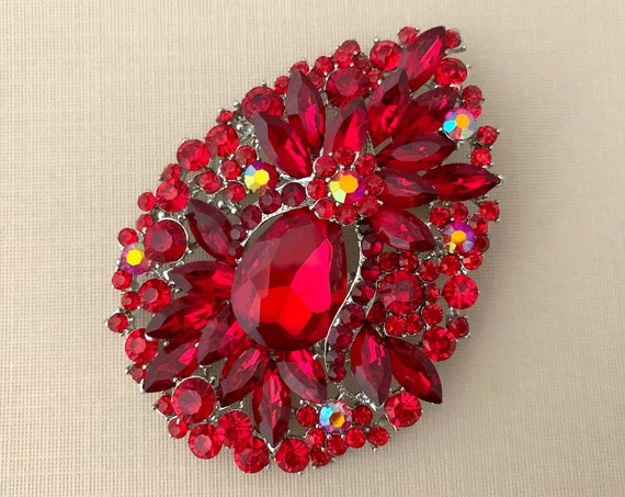 Red Large Rhinestone Brooch Pin