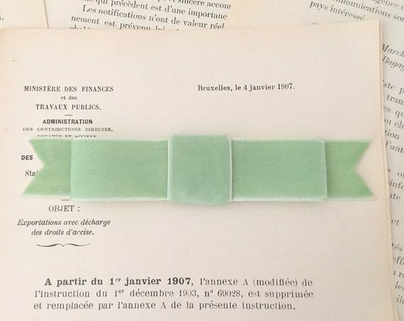 Light Green Velvet Ribbon Bow Hair clip