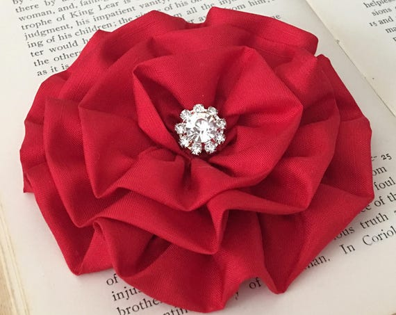 Red Silk Fabric Flower Hair Clip and/or Brooch Pin. Choose Button or Bead Finish.