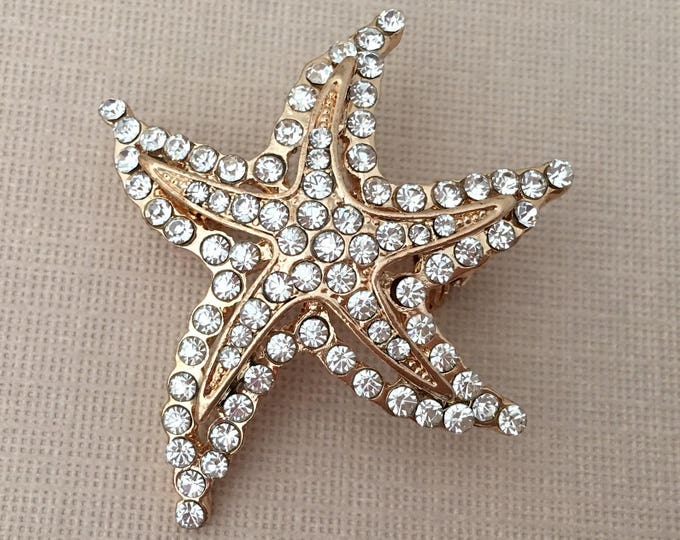 Gold Starfish Rhinestone Brooch Pin
