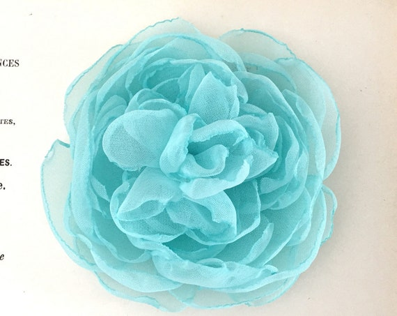 Aqua Chiffon Flower Hair Piece or Brooch Pin. Choose Your Size. Handmade.