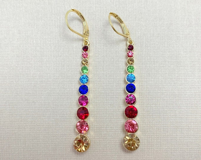 Multi-Color and Gold Dangle Earrings. Choose ear post style. Handmade.
