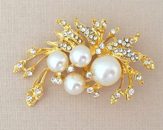 Gold Pearl Pin.Gold Leaf Brooch.Rhinestone Brooch.Leaf Rhinestone Brooch.wedding.Leaves.crystal brooch.bridal.Gold Pearl Brooch.Pearl Broach