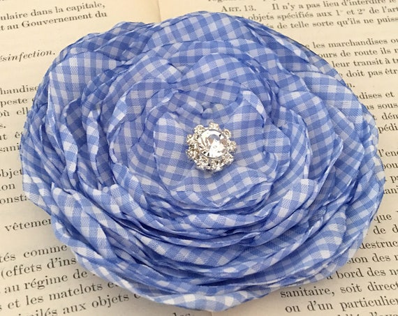 Periwinkle Gingham Flower Hair Clip or Brooch Pin. Choose your size and button/bead finish.