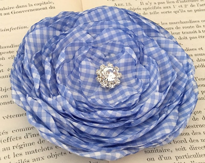 Periwinkle Gingham Flower Hair Clip or Brooch Pin. Choose your size and button/bead finish. Handmade.
