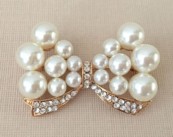 Pearl and Gold Bow Tie Rhinestone Brooch Pin