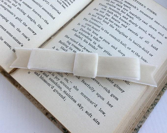 Beige Velvet Classic Bow Hair Clip. Handmade.