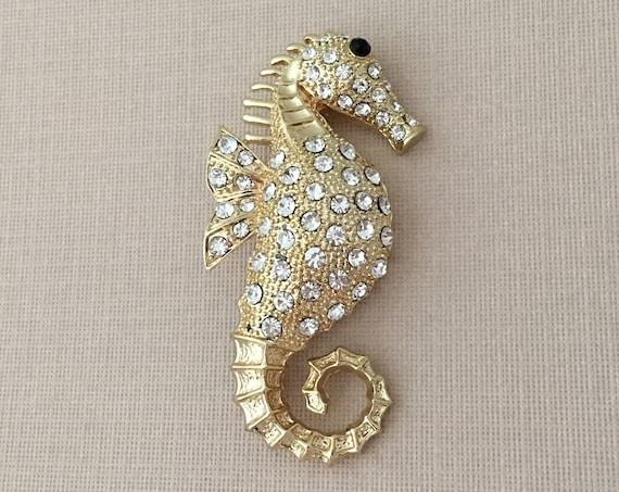 Gold Seahorse Brooch.Seahorse Brooch.Rhinestone Seahorse PIn.bridal accessory.sea horse broach.beach wedding.Gold Crystal Seahorse.tropical