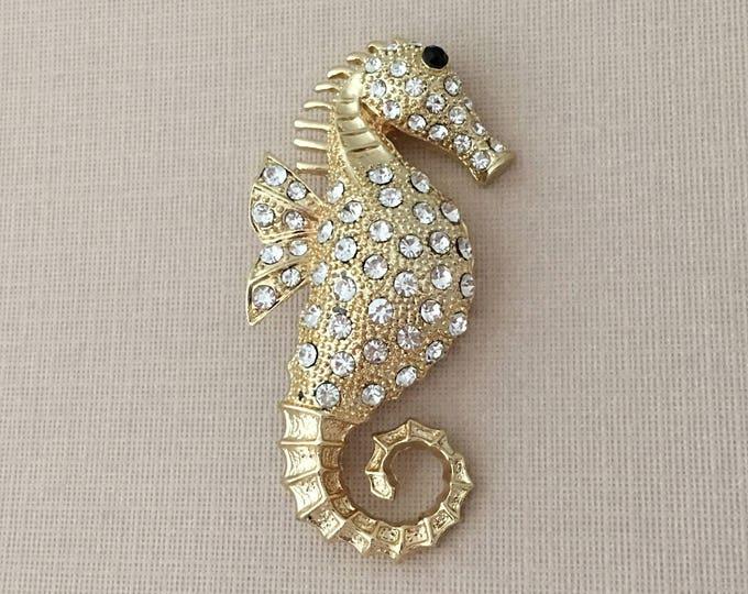 Gold Rhinestone Seahorse Brooch Pin