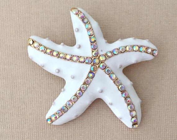White Starfish Brooch.White Gold Starfish Pin.Aurora Borealis Starfish Brooch.White Enamel Yellow Gold Brooch.Starfish Beach Wedding Pin