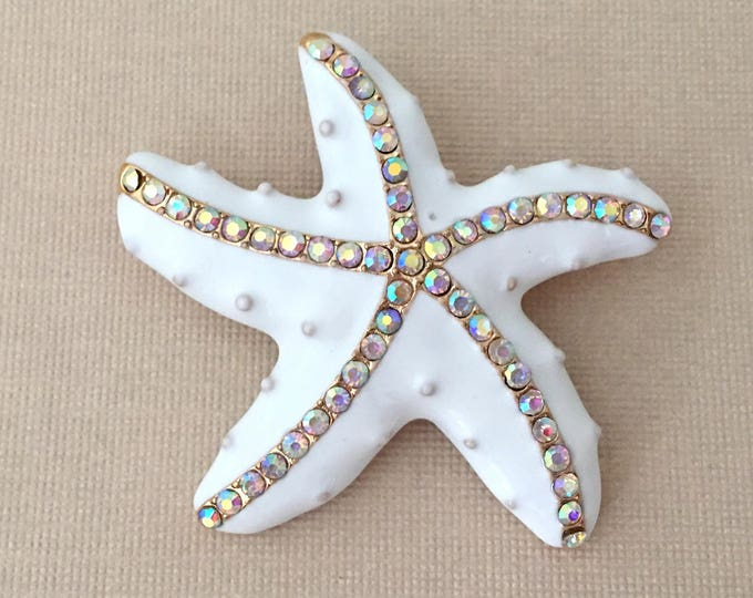 White Enamel Starfish Brooch Pin