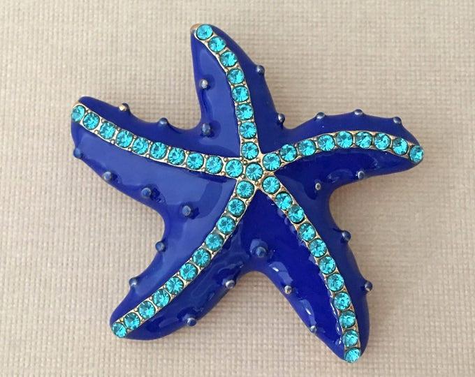 Blue Enamel Starfish Brooch Pin