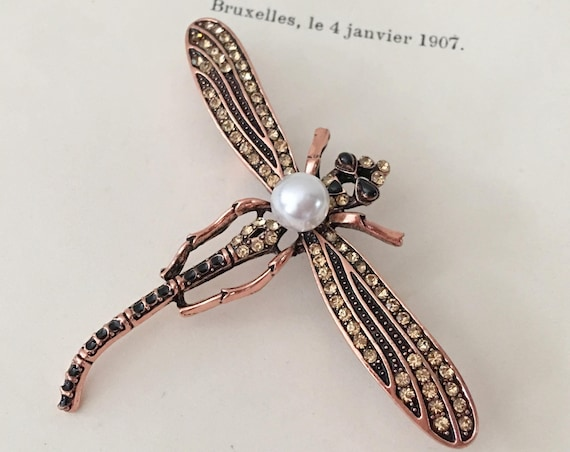 Copper Dragonfly Rhinestone Brooch Pin